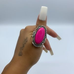"Silver Pink ""Open Range"" Gemstone Stretchy Ring"